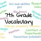Math Vocabulary Word Wall for the 7th Grade Common Core Standards. Every vocabulary word has a brief definition written in simplified, kid-friendly...