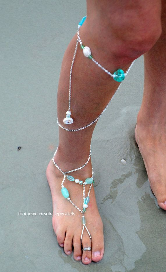 Boho Wedding Barefoot Beach Jewelry Ocean Gems Leg Chain