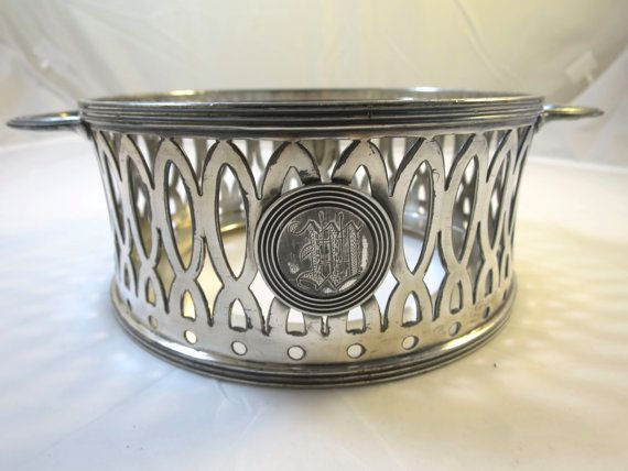 Antique Silver Plate Basket M Monogram Victorian SilverPlate Basket Hostess Entertaining Buffet Chafing Dish Casserole Holder Table Serve