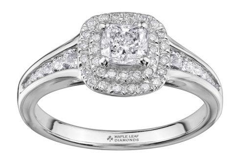 Pure White 18 karat Canadian Certified Gold cushion cut Canadian diamond ladies engagement ring set with 0.50 carat cushion cut Canadian diamond and 0.45 carat total weight diamonds