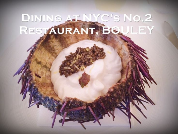 Dining at New York City's No. 2 Restaurant, Bouley. Amazing tasting menu. Malibu urchin green apple cloud and caviar. Cocktail recipe.