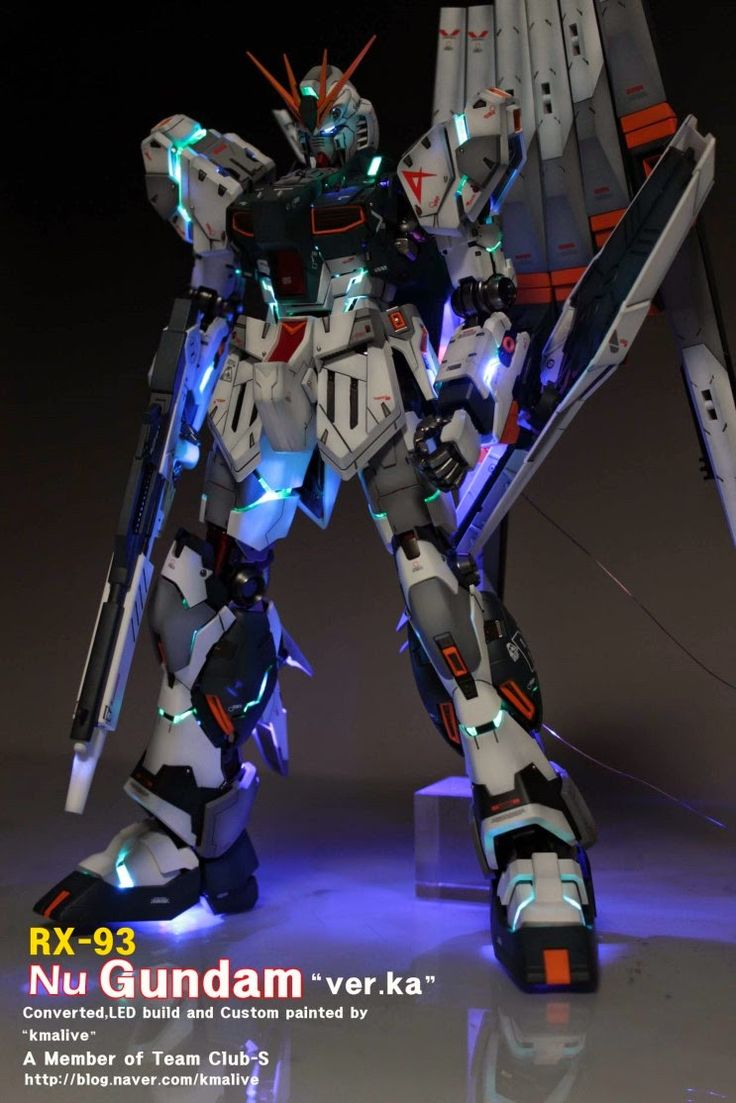 MG 1/100 RX-93 Nu Gundam Ver. Ka - Customized Build w/ LEDs   Modeled by kmalive