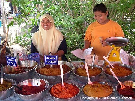 Selling curry pastes and more in Nakhon Si Thammarat