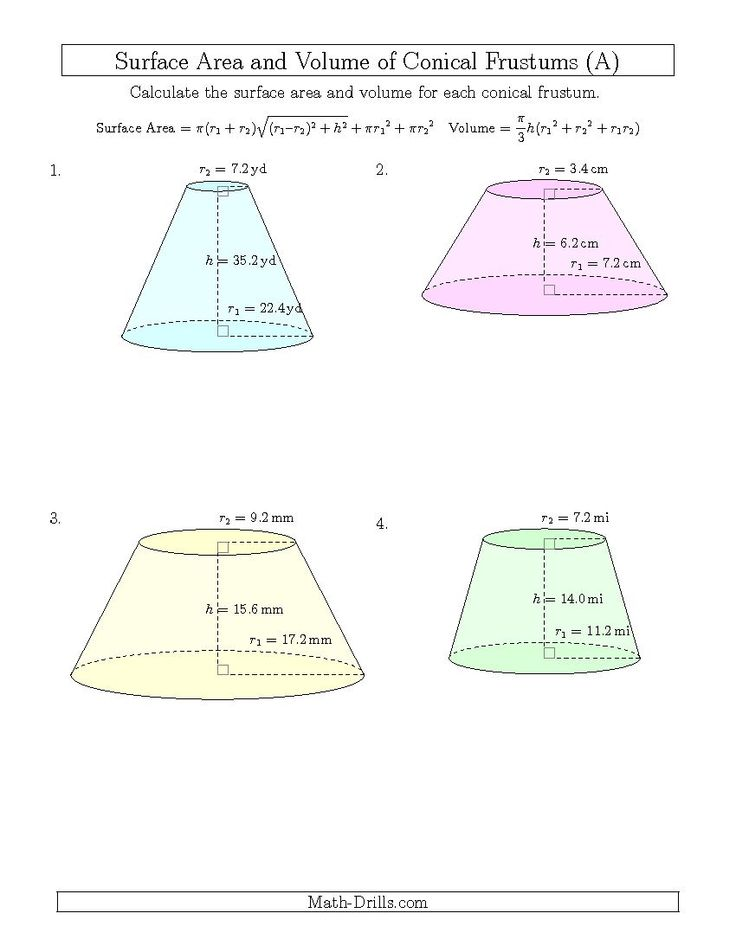 Math Worksheets Volume Of Cone - decimal places and ...