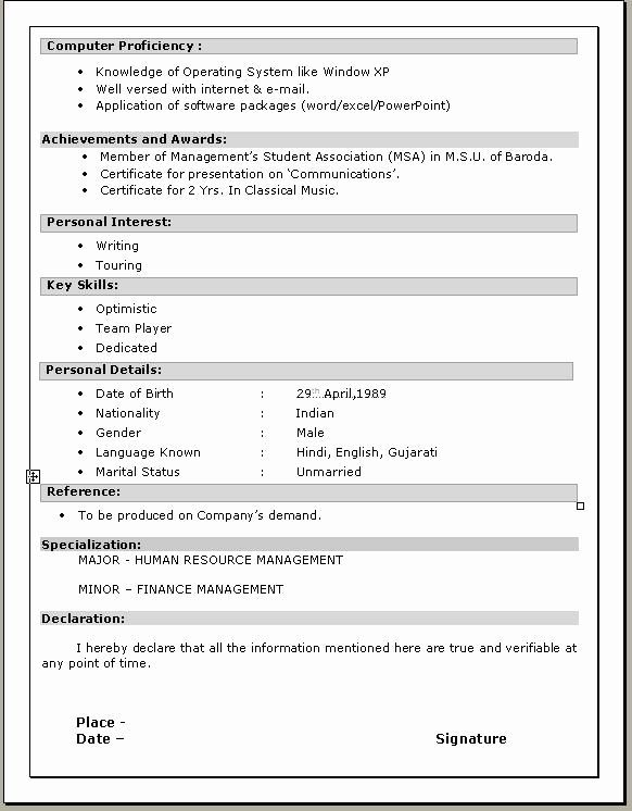 Resume Format Gujarat Resume Format Resume Format In Word Job Resume Template Sample Resume Format