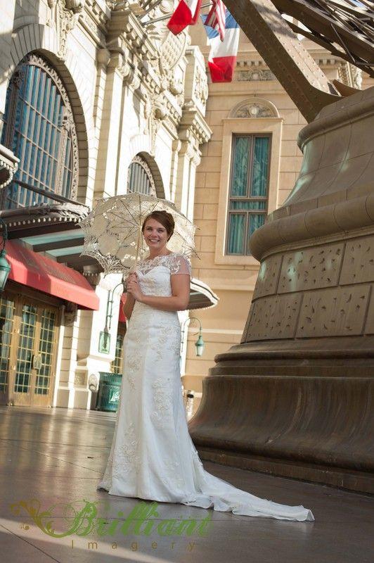 Las Vegas Destination Wedding At Paris Hotel Bride Under Parasol