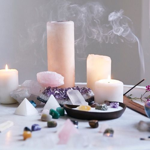 energizeyourlife:  Make your own #magic! Set up a #sacredspace with #crystals, candles, incense and whatever is #sacred to you. Spend time here each day to set your #intentions and have some essential ME time. #spiritual #spirituallife #boho #mystical photo from @UONewYork