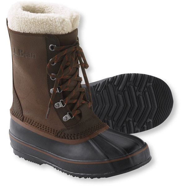 L.L.Bean  Snow Boots ($129) ❤ liked on Polyvore featuring men's fashion, men's shoes, men's boots, mens waterproof shoes, mens waterproof snow boots, mens water proof boots, mens slip resistant shoes and mens waterproof boots
