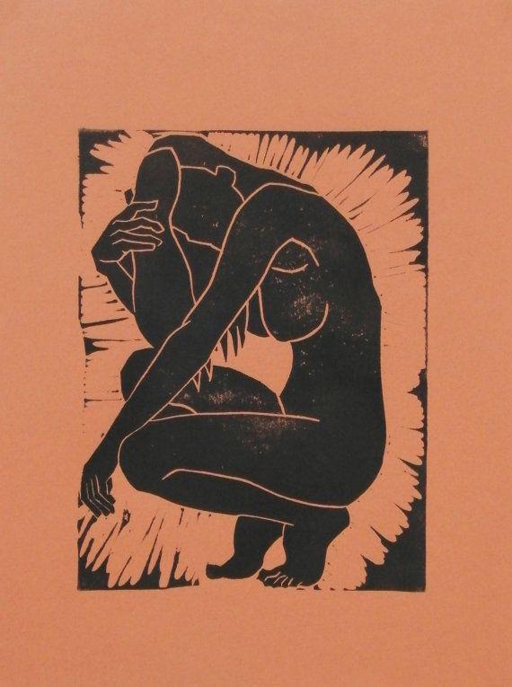 Original Lino Cut Print Nude Art Female Nude Pose Figure Study
