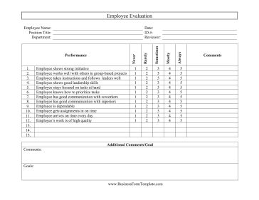 Employers can use this free, printable employee evaluation to evaluate leadership, teamwork, and quality. Free to download and print