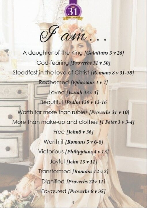 I am... - girls can write their own using the words of these verses from their favorite bible translation