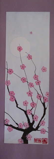 Cherry Blossom Blow Paintings. Celebrating Hanami in Japan.a faithful attempt