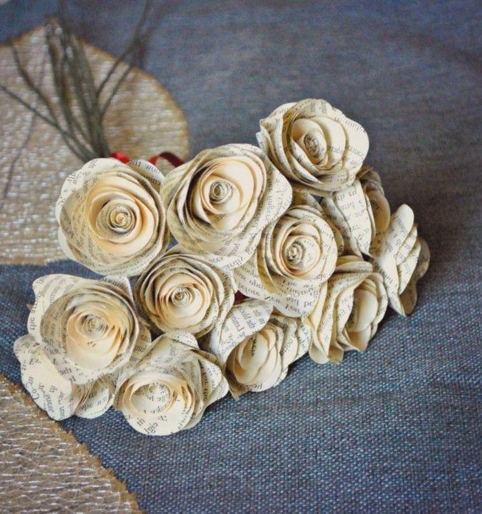 diy deko papier bücherseiten rosen basteln