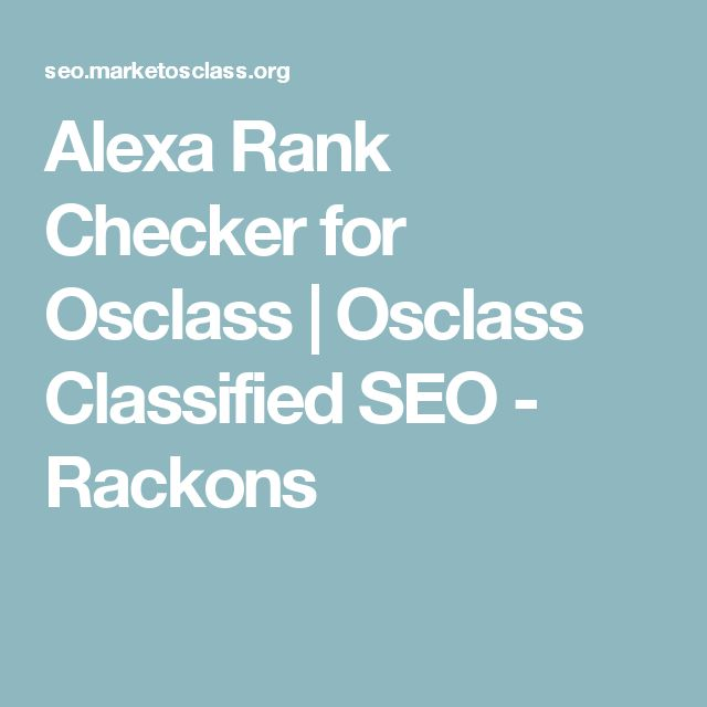 Alexa Rank Checker for Osclass | Osclass Classified SEO - Rackons