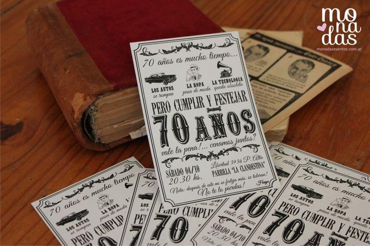 Invitación Vintage 70 años | http://www.monadaseventos.com.ar/invitacion-vintage-70-anos/