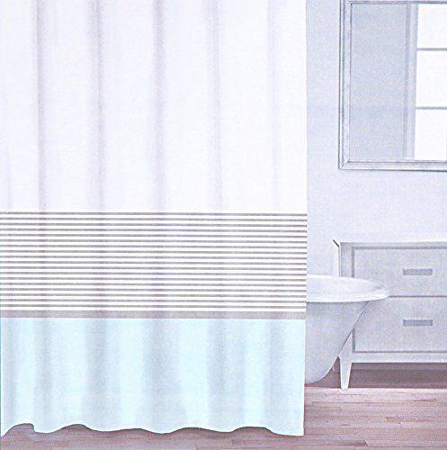 Caro Home 100 Cotton Shower Curtain Wide Stripe Fabric Striped White Light Aqua