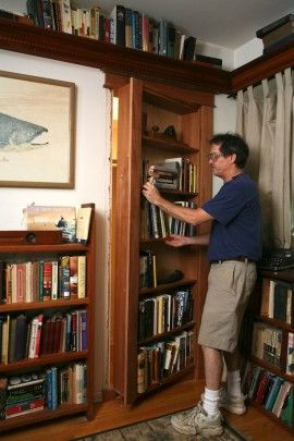 Weekend Project | How to Build a Hidden Pivot Bookcase // thisiscarpentry.com