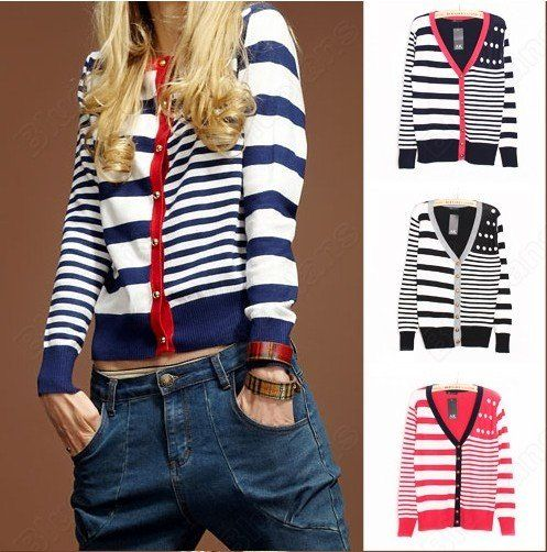 Korean Womens Striped Slim Outerwear Long Sleeve Peach Buckle Knitting Sweater Cardigan 10% off $12.59