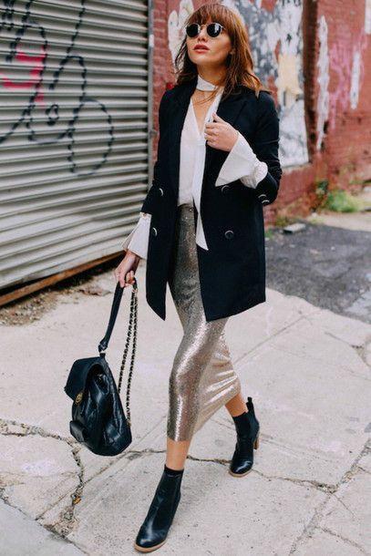 Blouse: le fashion image blogger jacket skirt shoes white silver skirt midi skirt backpack ankle