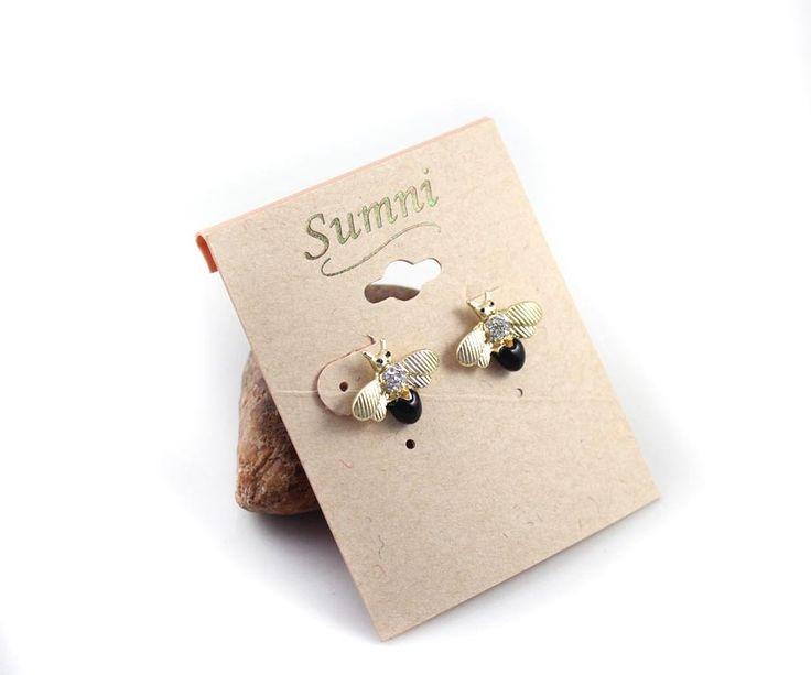 SUMNI Golden Sparkle Cute Black Bee Earrings 3303 - EC Chic Fashion Online Store worldwide Free Shipping