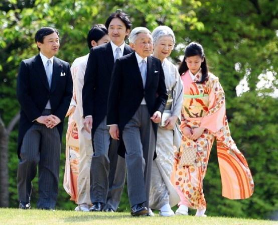 Emperor Akihito (C), Empress Michiko (2R), Crown Prince Naruhito (1L), Prince Akishino (2R) and Princess Noriko of Takamado (1R) during the annual spring garden party at Akasaka Palace on 18 April 2013 in Tokyo