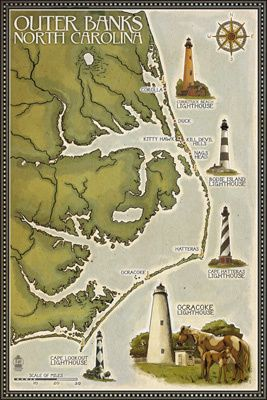 Favourite place in the world!!  Lighthouse & Town Map - Outer Banks, North Carolina - Lantern Press Poster