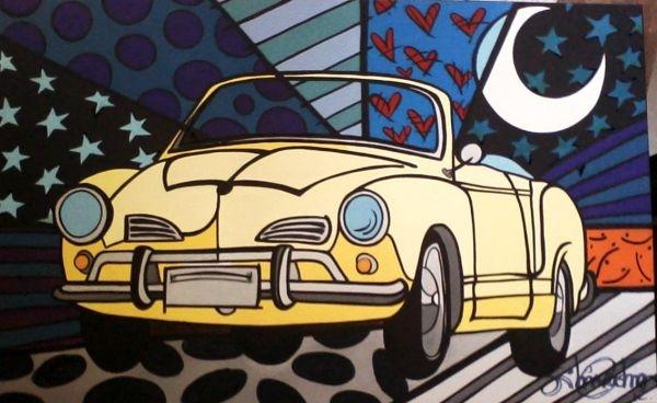 Karmann Ghia Conversivel Amarelo em Pop Art - Loja de artistaarteira