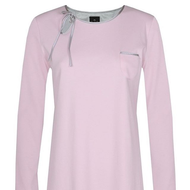 From the French Iconic Brand Le Chat, Pink Satin Edged Heavyweight Jersey Nightdress sizes 10 to 22 was £89.00 now £79.00 #nightwear  #lechat #french #nightdress #jerseynightwear #pinknightdress