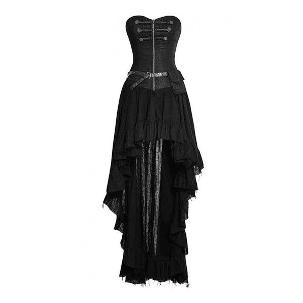 Punk Rave Gothic Dryad Black Dress ❤ liked on Polyvore featuring dresses, corsette dress, gothic corset, goth corset dress, goth punk dress and gothic corset dresses