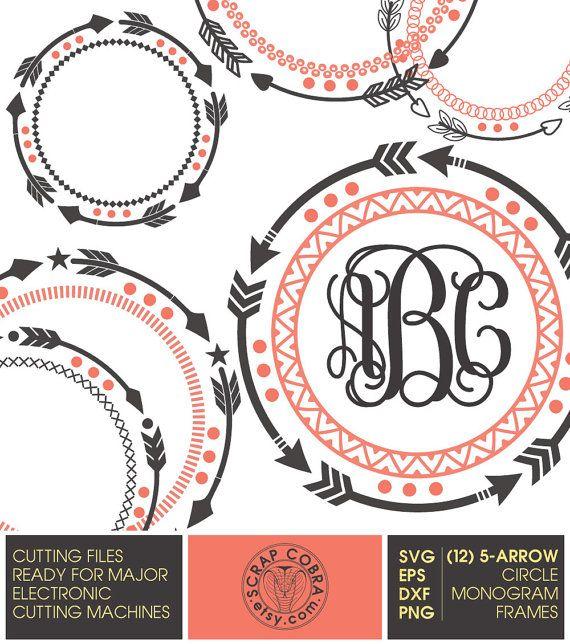 12 Tribal 5-Arrow Circle Monogram Frames SVG eps by ScrapCobra