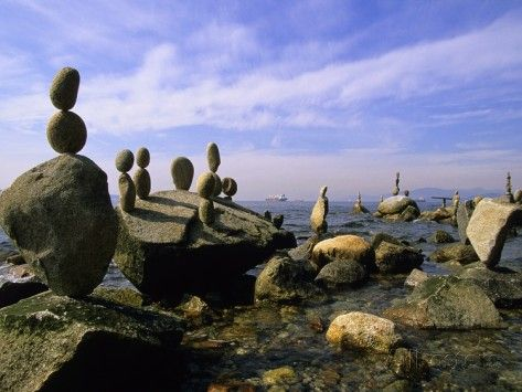 Balanced Rocks Along Seawall, Stanley Park, Vancouver, British Columbia, Canada. Photographic Print