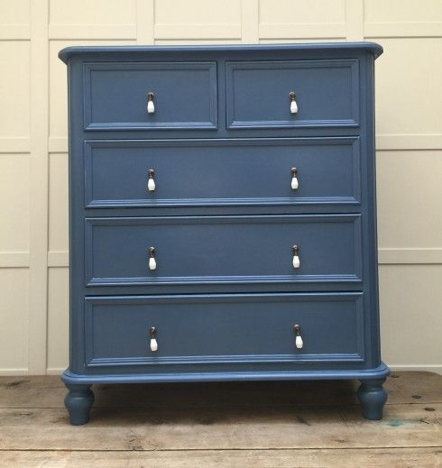 Dark Blue Painted Chest Of Drawers