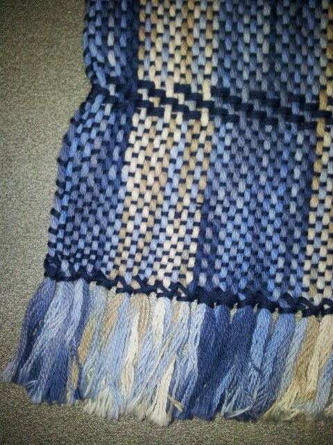 rigid heddle weaving - variegated cotton, warp-faced