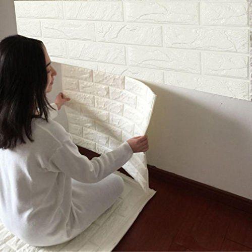 Autocollants, Oyedens pe mousse 3D Papier peint bricolage Stickers muraux Décor mur Brique Pierre gaufrée Wall Stickers(60 X 60 X 0.8cm):…