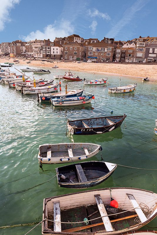 Boats, St Ives, Cornwall | England - I love this town and watching the boats sit on the sand as the tide goes out!