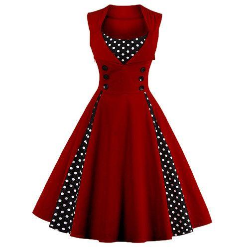 Vintage Women Dress 50s 60s Sleeveless 1950s vestido de festa 2017 Knee-Length Women's Party Dresses