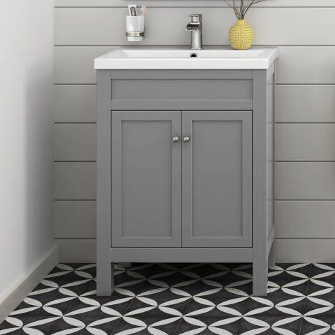 600mm Melbourne Earl Grey Double Door Floor Standing Vanity Unit - soak.com