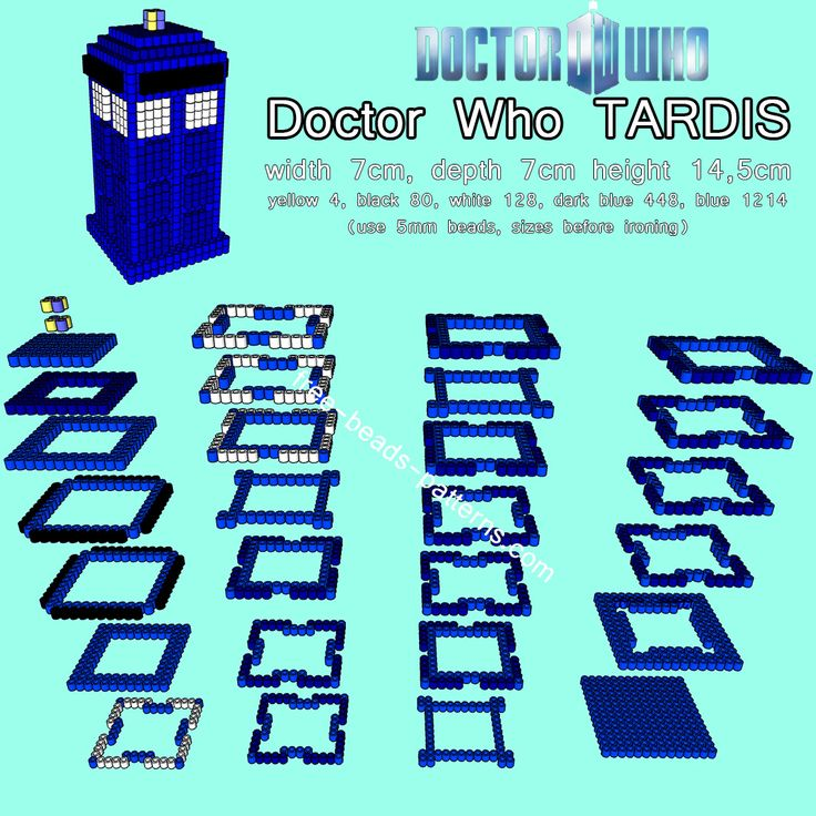 Doctor Who TARDIS 3D Hama beads Pyssla perler beads pattern