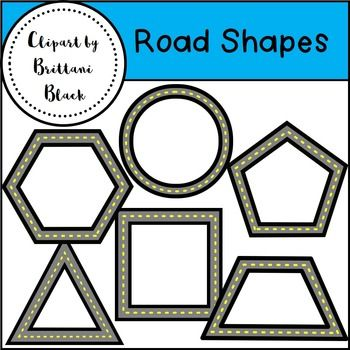 This clipart set contains the following road shapes in color and BW: hexagon, octagon, pentagon, square, circle, rhombus, triangle, rectangle, trapezoid and oval.The images have a transparent center and are in PNG format.  These images can be used for personal or commercial use.