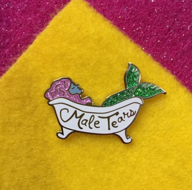 MALE TEARS enamel pin from PindigoGrrrls