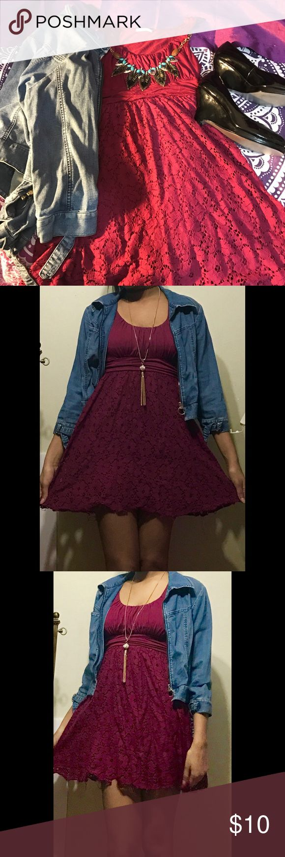 Maroon Skater Dress W/ Lace Look This maroon colored dress is a beautiful transition piece for winter to spring! This dress has flower detailing and is in great condition! I am flexible with price so don't be afraid to make an offer! I ship fast! Free gift with every purchase from my closet! Dresses