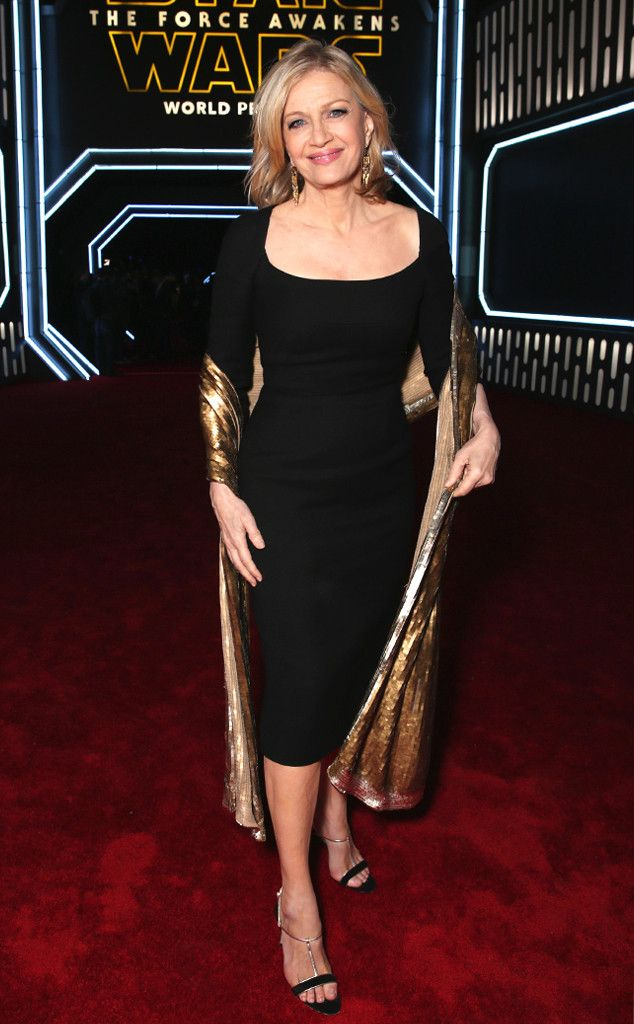 Diane Sawyer from Star Wars: The Force Awakens Premieres Around the World The media mogul could have passed for a glamorous movie star in a simple black dress and golden shawl.