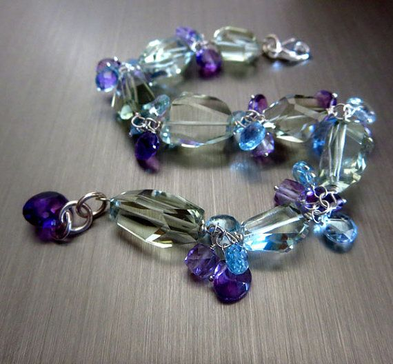 Multi Stone-Blue Topaz-Aquamarine-Green Purple-Pink Amethyst-Chunky Sterling Silver Bracelet with Charms