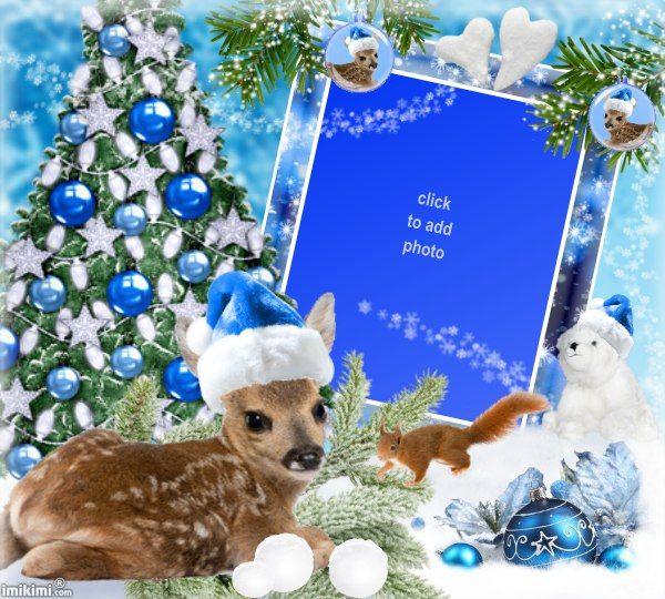 Blue Winter Christmas Deer Baby