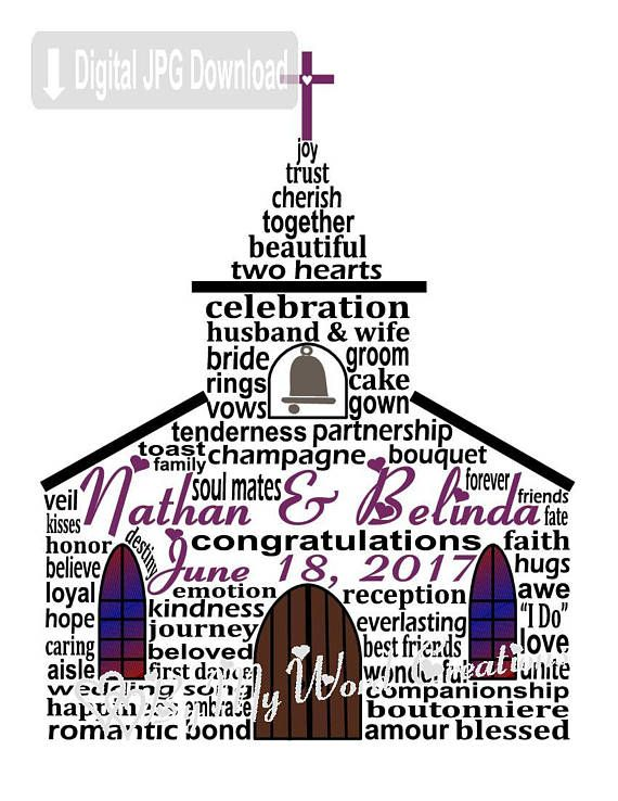 Wedding Chapel Art Wedding Chapel Word Art Wedding Gift
