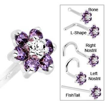 Solid 14KT White Gold Amethyst and Clear Cubic Zirconia Flower Nose Ring | Body Candy Body Jewelry #bodycandy