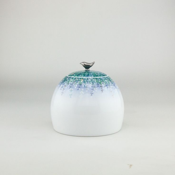 Lalala Lavande,  Tea Caddy handthrown from the purest white Jingdezhen Porcelain then handpainted by our team of dedicated artists   Tea-ware coffee-ware by Spherebol