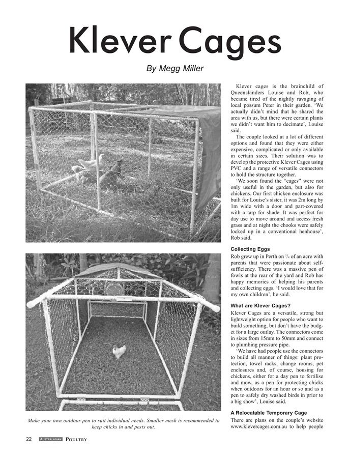 Klever Cages in Australasian Poultry Magazine Oct/Nov 2015 Page 1