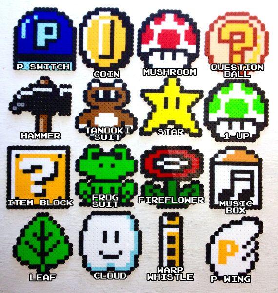 Super Mario 3 Retro Video Game Art Perler Bead 8 Bit Pixel