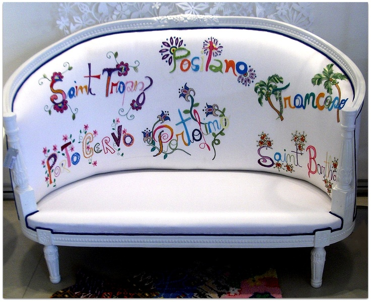 Recycled petit sofa-embroidered silk-